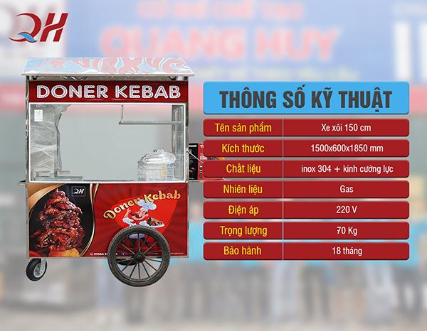 Thông số kỹ thuật của xe xôi bán bánh mì 1m5