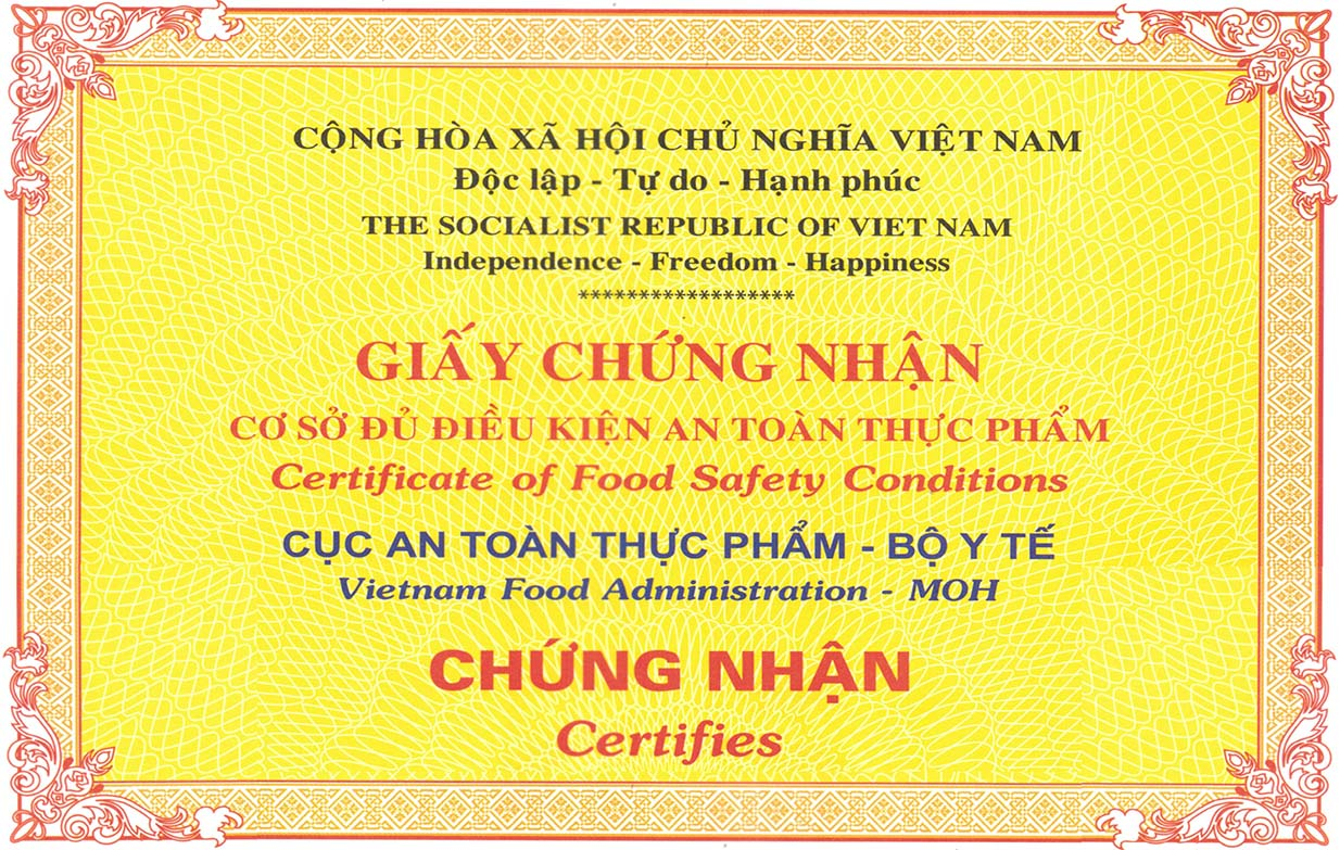 Gia vị ướp thịt doner kebab của Quang Huy được chứng nhận là sản phẩm đảm bảo an toàn thực phẩm