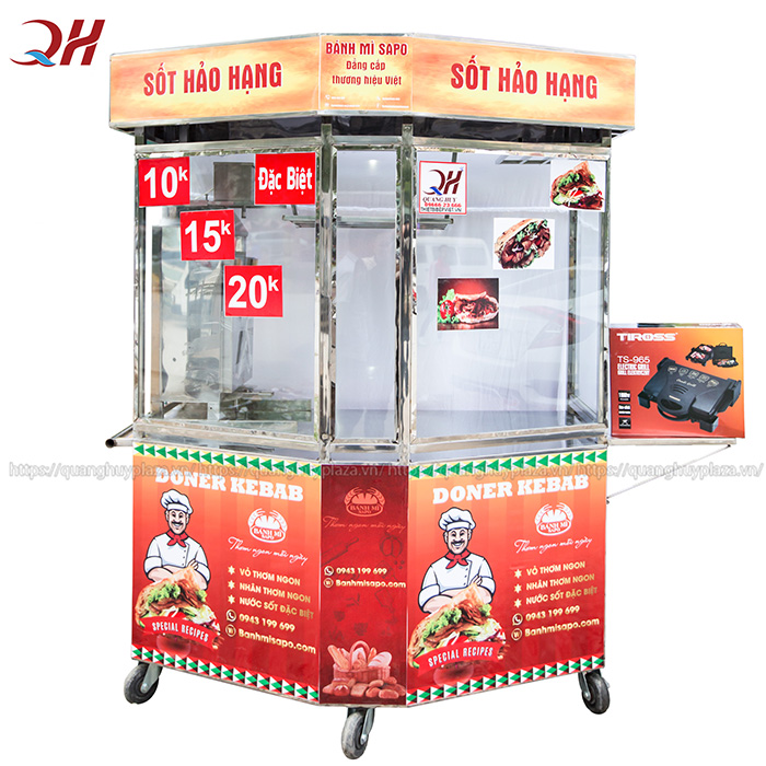 Xe bánh mì lục giác 1m3 mẫu mới năm 2020 của Quang Huy