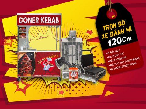 Trọn bộ xe bánh mì Doner Kebab Quang Huy giá rẻ