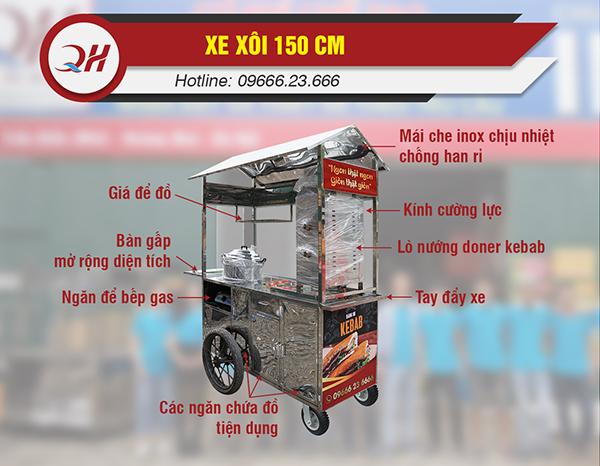 Xe bánh mì Quang Huy được thiết kế chắc chắn và tiện lợi