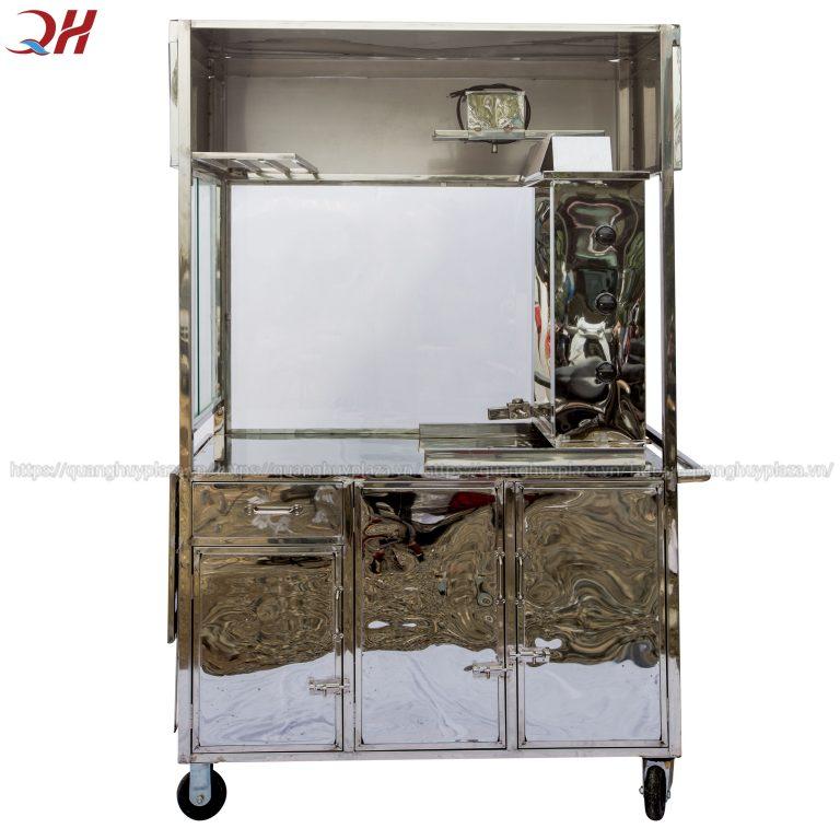 Thiết kế xe bánh mì Quang Huy 100% Inox304 sáng bóng