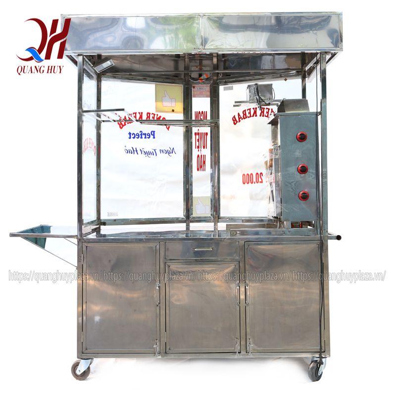 Xe bán xôi bán bánh mì được chia thành 2 ngăn khác nhau