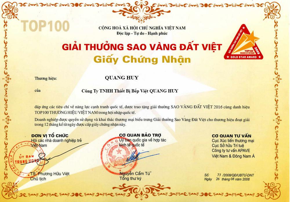 Chứng nhận giải thưởng về những đóng góp của Quang Huy