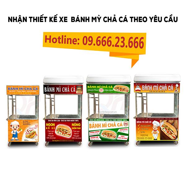 Ngoài ra, Quang Huy còn nhận thiết kế xe và decal xe bánh mì chả cá theo yêu cầu