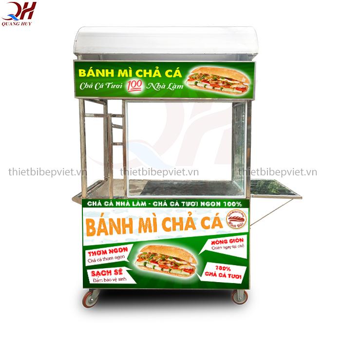 Xe bánh mì chả cá 1m5 mẫu mới nhất năm 2020 của Quang Huy
