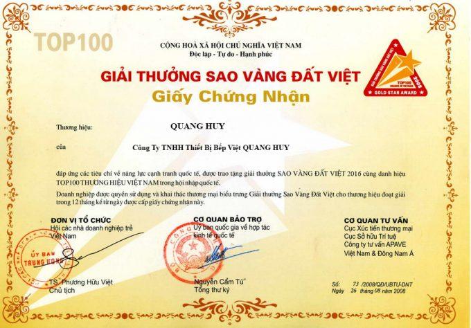 Giấy chứng nhận: Giải Thưởng Sao Vàng Đất Việt