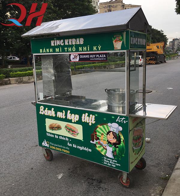 Xe bánh mì thịt Quang Huy giúp bạn dễ dàng hơn trong quá trình di chuyển, xe bánh mì thịt nướng, xe bán bánh mì thịt nướng, giá xe bánh mì thịt nướng, bánh mì thịt nướng xe đẩy