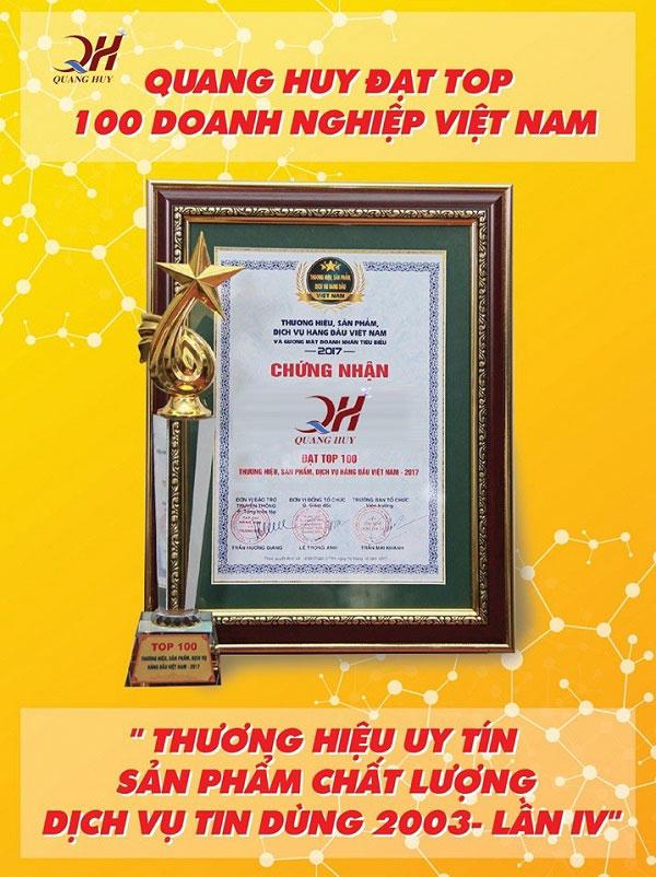 Quang Huy nằm trong top 100 doanh nghiệp uy tín Việt Nam