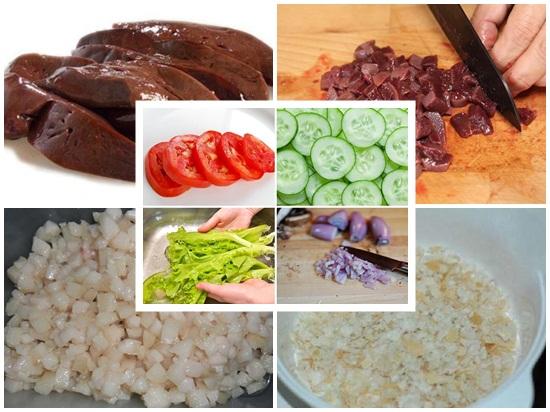 Sơ chế gan và các loại rau củ cần thiết