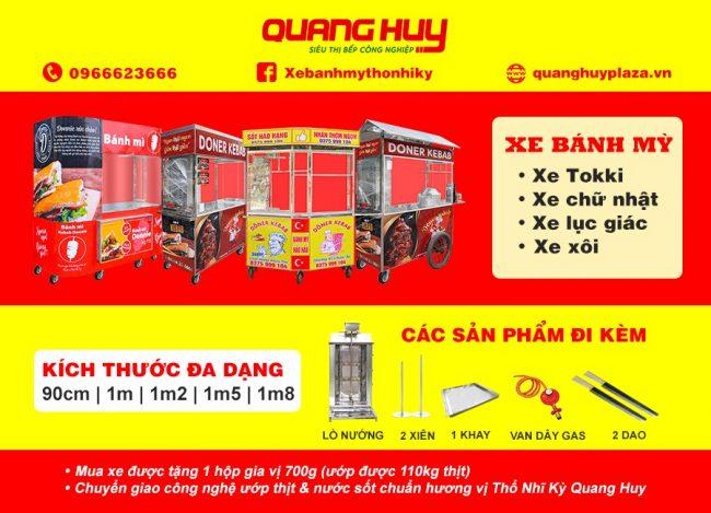 Quang Huy cung cấp xe bánh mì đa dạng về mẫu mã và kích thước