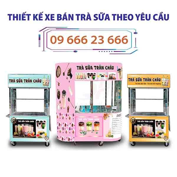 Quang Huy nhận đặt và thiết kế xe đẩy bán trà sữa theo yêu cầu uy tín giá rẻ