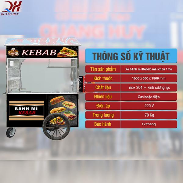 Thông số kỹ thuật xe bánh mì Doner Kebab mái chùa 1m6