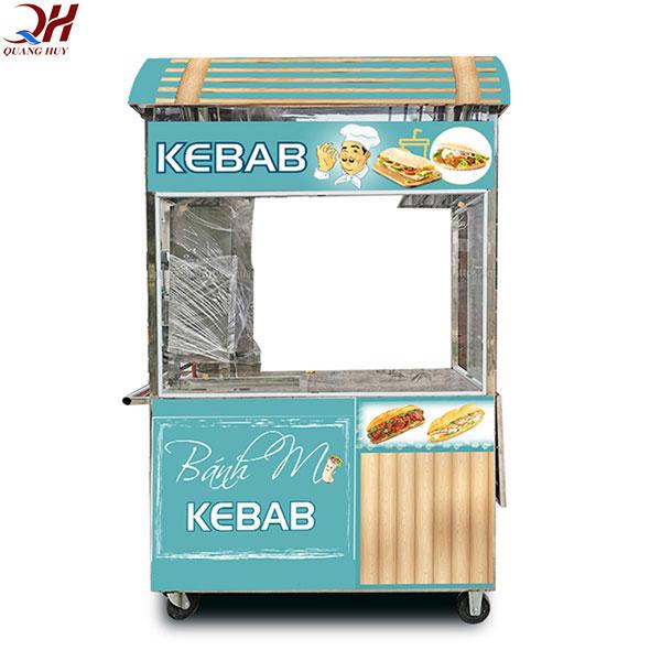 xe bánh mì doner kebab 1m8 mái vòm có cường lực bao quanh