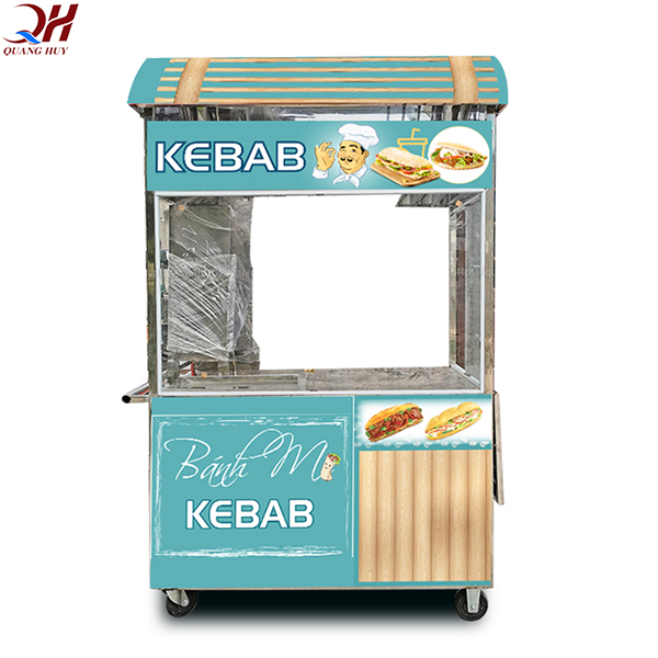 Xe bánh mì Doner Kebab mái vòm 1m6 có thiết kế sang trọng bắt mắt