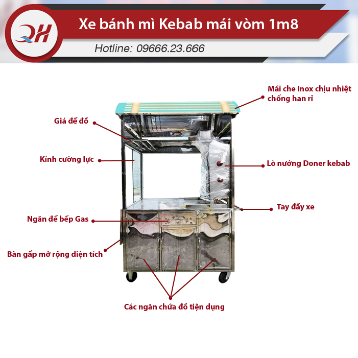 Xe bánh mì Doner Kebab mái vòm 1m8 với thiết kế mái mới lạ