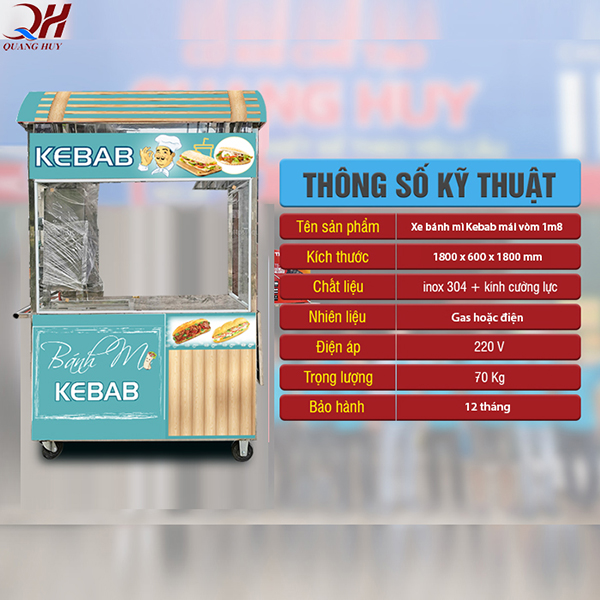 Xe bánh mì Doner Kebab mái vòm 1m8