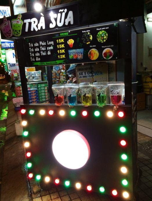 Xe bán trà sữa đèn led