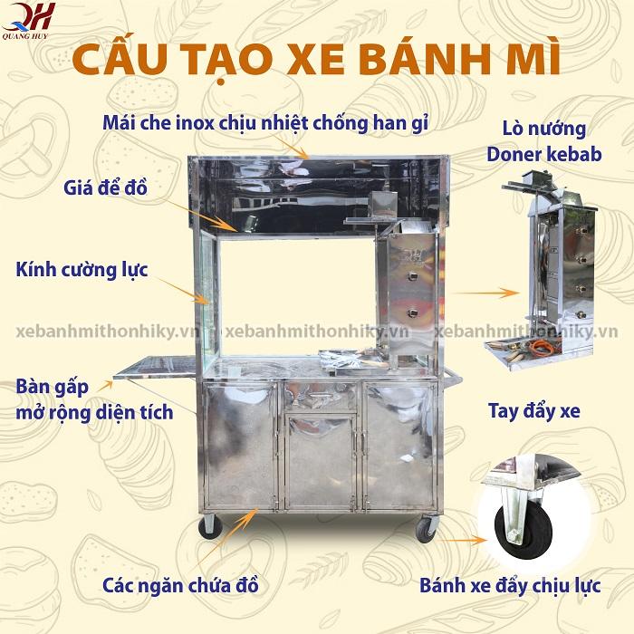 Tủ (xe) bánh mì Inox Quang Huy được thiết kế đầy đủ tiện nghi