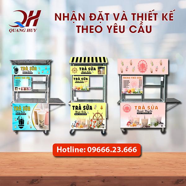 Tại Quang Huy có rất nhiều mẫu mã, kích thước xe trà sữa khác nhau cho bạn có thể chọn lựa