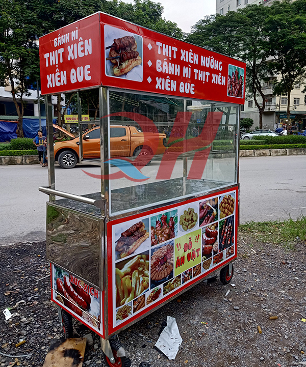 Xe bán xiên que thịt nướng Quang Huy thiết kế chắc chắn, đẹp mắt