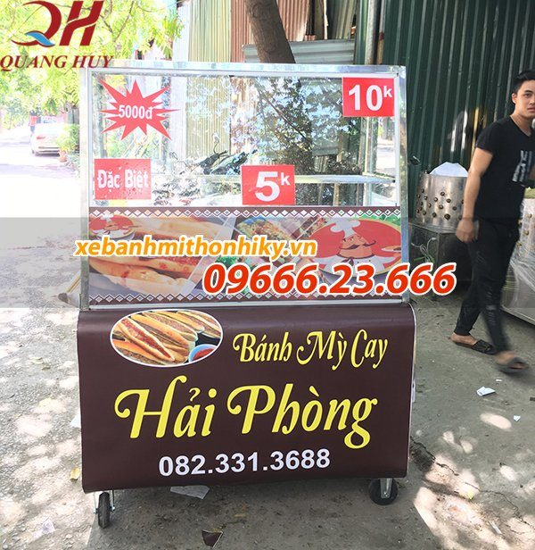 Xe bánh mì que Hải Phòng 1m3 gia công tại Quang Huy
