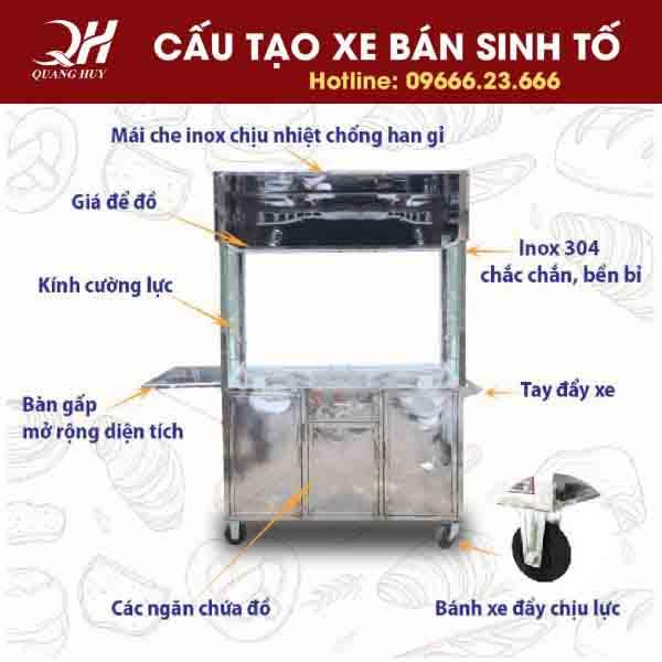 Cấu tạo xe bán sinh tố nước ép trái cây tại Quang Huy