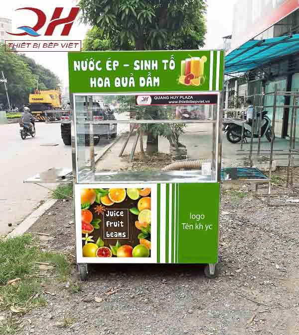 Xe bán nước ép hoa quả decal tươi mới