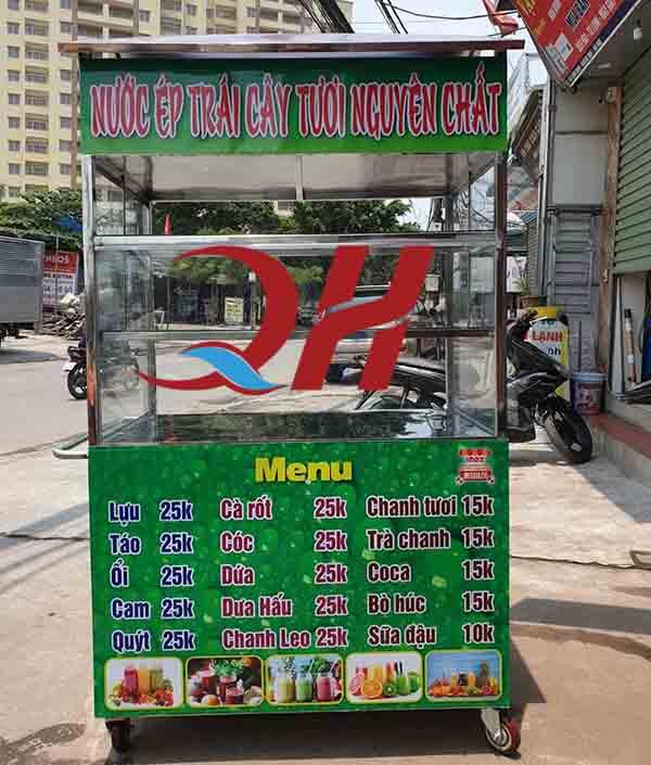 Xe bán nước ép trái cây Decal có menu