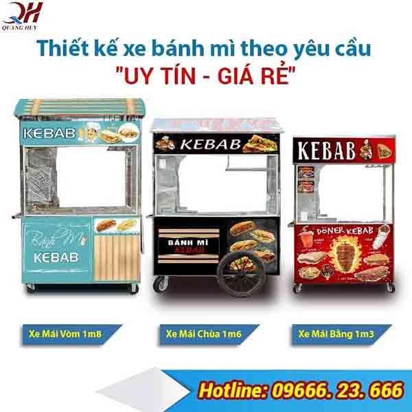 Xe bán bánh mì thiết kế theo yêu cầu giá bao nhiêu